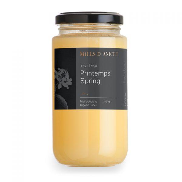 Pot de miel brut biologique de printemps de Miels d'Anicet