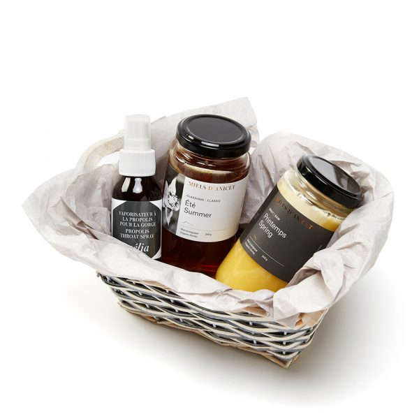 panier cadeaux miel biologique et propolis