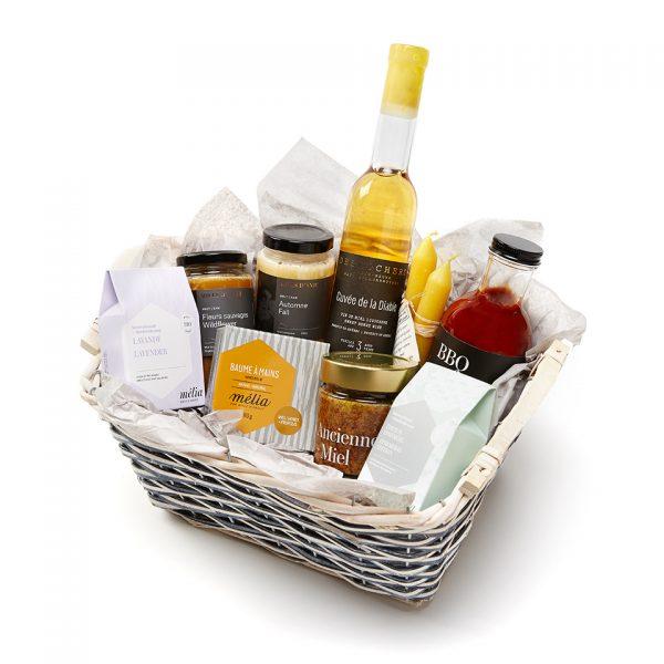 panier cadeaux miel, moutarde et savon, hydromel, chandelle