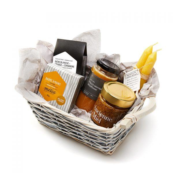 panier cadeaux miel, moutarde, chandelle et savon
