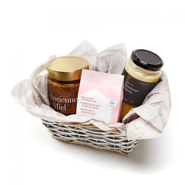 panier cadeaux miel, moutarde et savon