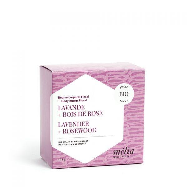 Beurre corporel biologique miel, lavande et boise de rose